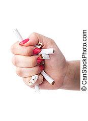 Antismoking, conceito, cigarros, mão