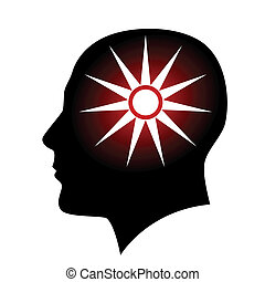 Human head - Human with sun sign Illustration on white...
