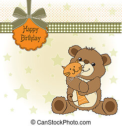 birthaday greeting card with teddy bear and his toy