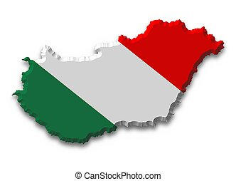 Hungary - Illustrated of Hungary with flag texture