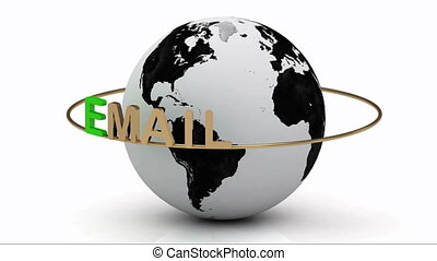 Email on a gold ring rotates around - Email newsletters on a...
