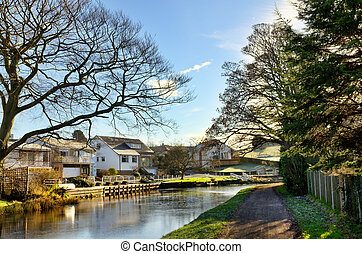 View of Lancaster Canal at Bolton-Le-Sands - Picturesque...