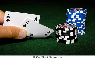 Two aces in hand - Aces and chips on the table