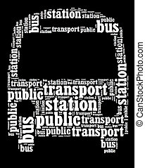 Bus - white text graphic composed in bus shape on black...