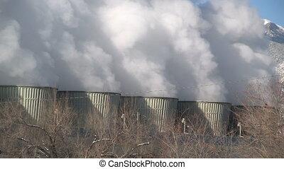 Power plant smoke stacks
