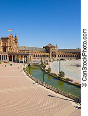 view of square of Spain, Sevilla, Spain - view of square of...