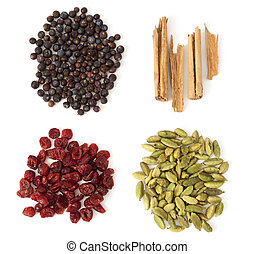 Four Spices and Berries for Gin Tonic - Four ingredients for...