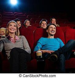監視, グループ, 映画館, 映画, 人々, 微笑