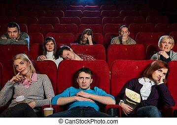 グループ, 映画館, 退屈すること, 人々, 映画, 監視