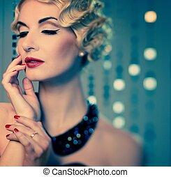 elegante, rubio, Retro, mujer, hermoso, peinado, rojo,...