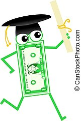 graduation dollar - Cartoon dollar man wearing graduation...