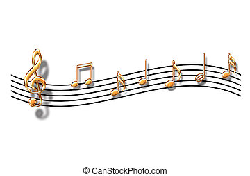 Notes - Gold musical notes on a white background