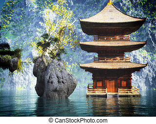 Buddhist temple in mountains - Buddhist temple in the...