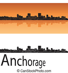 Anchorage skyline in orange background in editable vector...