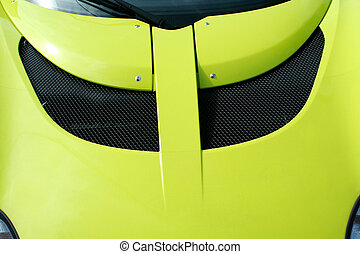 Yellow sports car hood - A Yellow sports car hood with scoop