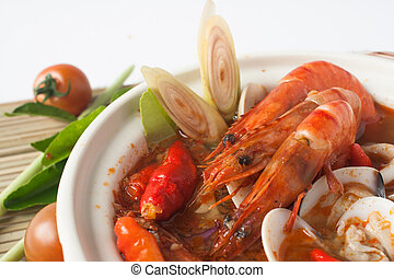 tom yum kung seafood soup from Thailand cuisine