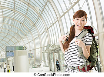 traveling Asian woman