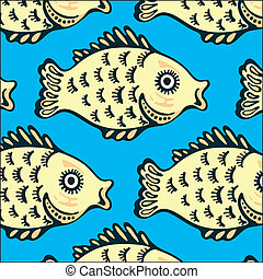 Ornamental fish - Seamless texture of the image sets of fish