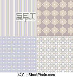 Retro wallpaper - Set pattern. Four seamless pastel. Vector...