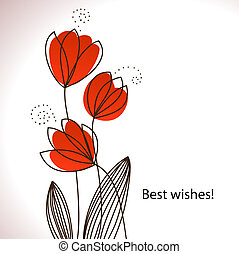 Card with vector stylized flowers Retro style