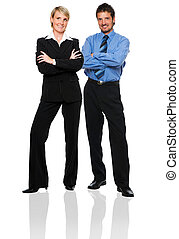 couple - young business couple standing on white background