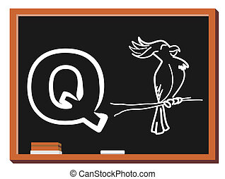 Animal alphabet Q - Illustration of alphabet letter Q with a...