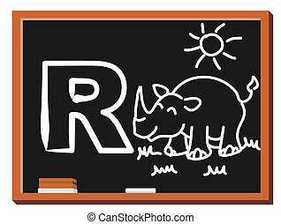 Animal alphabet R - Illustration of alphabet letter R with a...