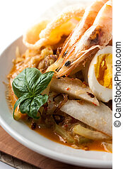 asia cuisine food lontong ketupat rice cake, Indonesia...