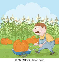 Men driven truck with pumpkin - Farmer cartoon man harvest,...