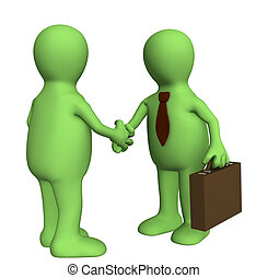 Handshake - Shake hand of two 3d stylized people . Objects...