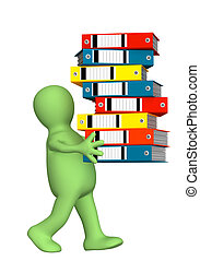 Puppet, carrying folders - 3d puppet, carrying folders with...