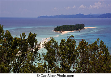 isthmus isle boat palm rock stone branch hill lagoon and...