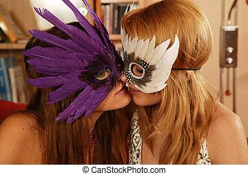 lesbische, hartstocht, paar, kussende