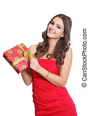 Beautiful brunette girl with a gift