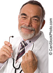 doctor smiling - male caring doctor smiling, isolated over...