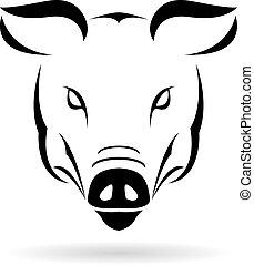 Wektor, wizerunek, świnia