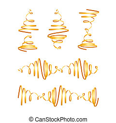Festive gold streamers - Collection of festive red spiral...