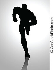 Superhero Silhouette - Silhouette illustration of a muscular...