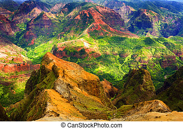 Rich Colorful Cliff in Hawaii - Rich Colorful Cliff of Na...