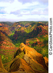 Colorful Mountain Landscape - Rich Colorful Cliff of Na Pali...