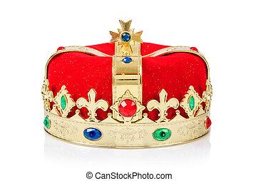 rei, coroa, isolado, branca