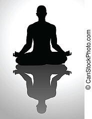 Meditation - Silhouette illustration of a man figure...