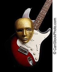 electric guitar and mask - electric guitar and gold mask,...
