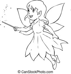 Pixie - Outline illustration of a little fairy