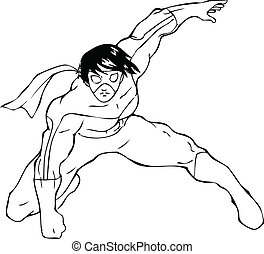 Superhero - Outline illustration of a superhero with a mask