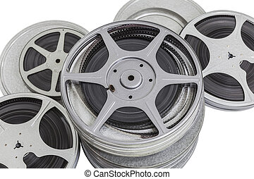 Vintage Pile of 8MM Film Cans Isolated - Vintage pile of 8mm...