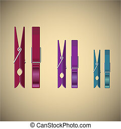 Clothes pin set on gradient background, vector illustration