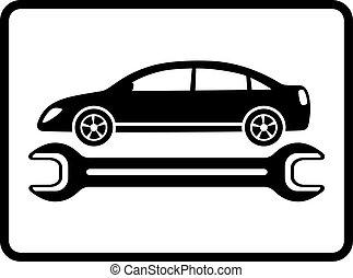auto service icon with car - auto service icon with black...