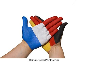 germany and france - a handshake between france and germany