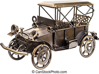 Vintage Metal Car - Handmade Metal Vintage Toy Car Isolated...